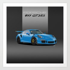 2016 Porsche 911 GT3 RS in Mexico Blue Art Print