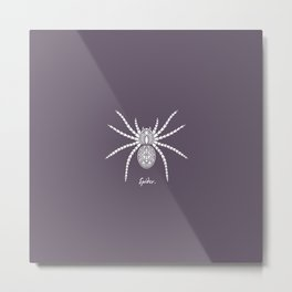 Spider White On A Purple Background Metal Print