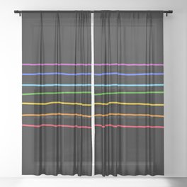 Abstract Retro Stripes #3 Sheer Curtain