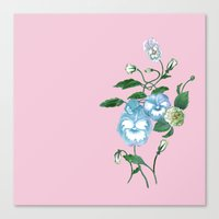 decal Canvas Prints featuring Pansy Decal Pink, Bluebell and Green  by ThistleandFox