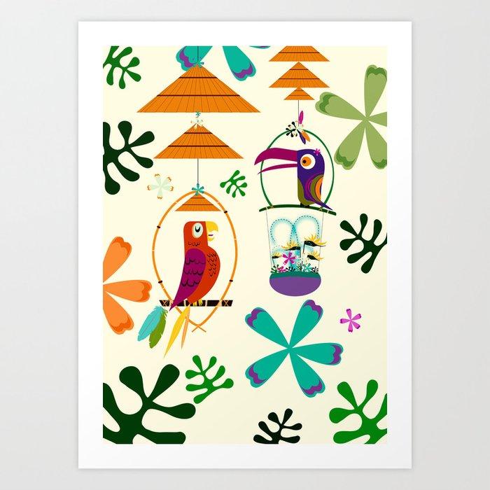 Vintage Modern Tiki Birds Kunstdrucke