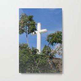 Stone Cross With Trees Metal Print