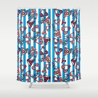 bikini Shower Curtains featuring bikini by lindseyclare