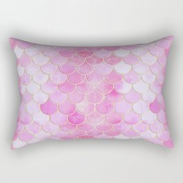 Pink Pearlescent Mermaid Scales Pattern Rectangular Pillow