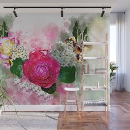 Wreath of flowers Wall Mural