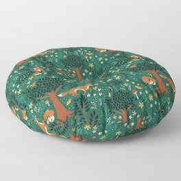 Foxes Playing in the Emerald Forest Floor Pillow