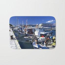 Fishing boats of Corfu Town Bath Mat