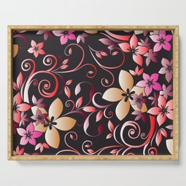 Flowers wall paper 6 Serving Tray