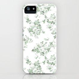 Elegant vintage green white roses shabby floral iPhone Case