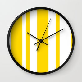 Mixed Vertical Stripes - White and Gold Yellow Wall Clock