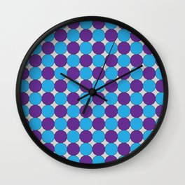 Blue and Purple Blue Dodecagons on Silver Wall Clock