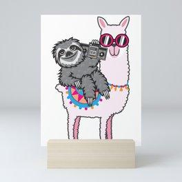 Sloth Music Llama Mini Art Print