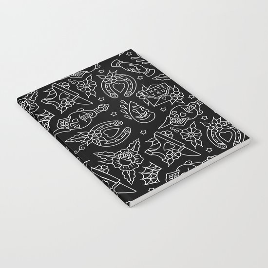 Classic Black Tattoo Pattern  Notebook