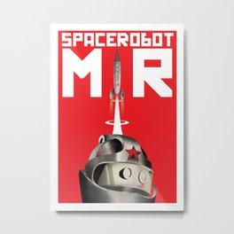 Retro Soviet minimalism space robot Metal Print