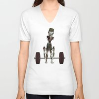 crossfit V-neck T-shirts featuring Crossfit Zombie by RonkyTonk doing Deadlift by RonkyTonk
