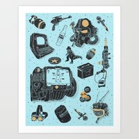 fallout Art Prints featuring Artifacts: Fallout by Josh Ln