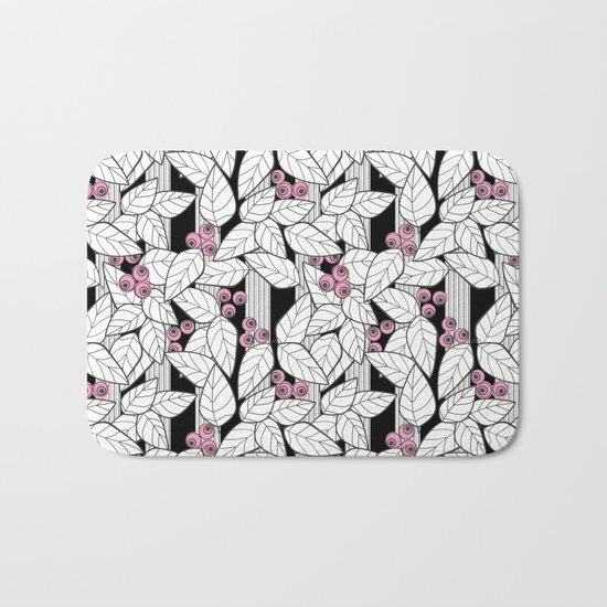 Pink berries on black and white striped background . Bath Mat
