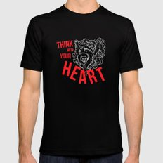 Think With Your Heart MEDIUM Black Mens Fitted Tee
