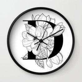 Monogram D with Magnolia Line Art Wall Clock