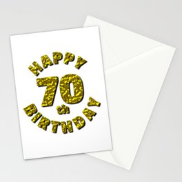 Happy 70th Birthday Gold Message Stationery Cards