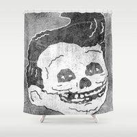 misfits Shower Curtains featuring FAT FIEND CLUB by UNDEAD MISTER / MRCLV