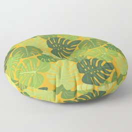 Monstera Leaves Pattern (yellow background) Floor Pillow