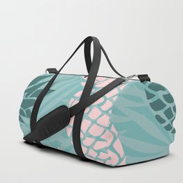 Tropical Pineapple and Palm Leaf Pattern, Teal and Pink Duffle Bag