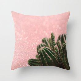 Cactus on Pink Sparkles Throw Pillow