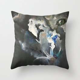 Wolf In Space Throw Pillow