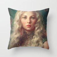 meme Throw Pillows featuring MEME 017 Danaerys by mushroomtale
