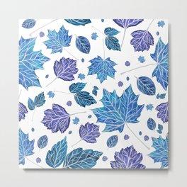 Autumn leaves pattern in blue Metal Print