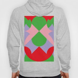 An upside down Pink Butterfly in a green, red and blue beautiful landscape. Green Sun. Hoody