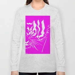 Eye Of The Tiger - Pink & White Long Sleeve T-shirt