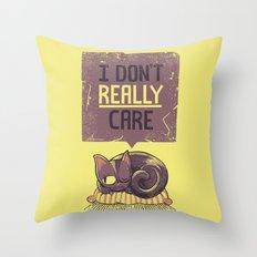 I Dont Care Cat Throw Pillow