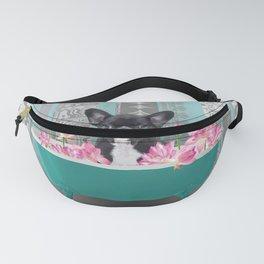 Turquoise Bathtub - French Bulldog Lotus Flower Fanny Pack