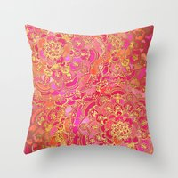 baroque Throw Pillows featuring Hot Pink and Gold Baroque Floral Pattern by micklyn