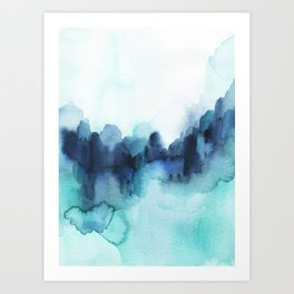 Wonderful blues Abstract watercolor Art Print