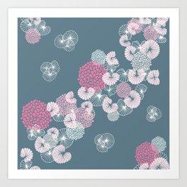 Floral Seamless Pattern on Blue Art Print