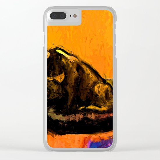 Cat and a Gold Wall Clear iPhone Case