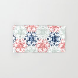 Floral in Aqua, Coral Red and Navy Blue Hand & Bath Towel