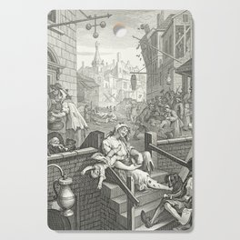 Gin Lane - William Hogarth (1697-1764) - 18th century engraving print Cutting Board