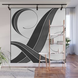 Letter L - Script Lettering Cropped Design Wall Mural