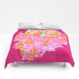 Pink Ladies blue hair pink boa gemini twins Comforters