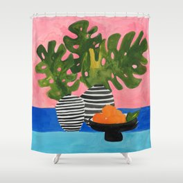 Pink Wall Monstera Shower Curtain