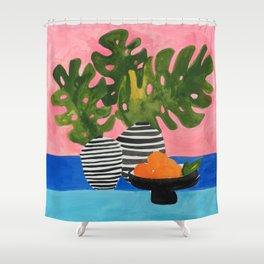 Pink Wall Monstera Shower Curtain