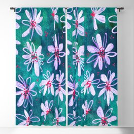 Daisy Flowers | Whimsical Watercolor Daisies on Cyan BlueTeal Blackout Curtain