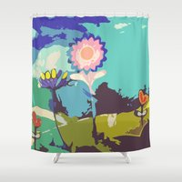 leah flores Shower Curtains featuring Flores by maribeldesigns