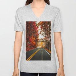 autumnal road in vermont Unisex V-Neck