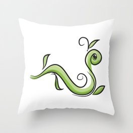 GreenWorm Throw Pillow