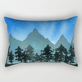 Starry Night Over Blue Mountains & Black Trees Rectangular Pillow